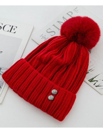 Fashion Red Double-layer Plus Velvet Double Rivet Hair Ball Wool Cap