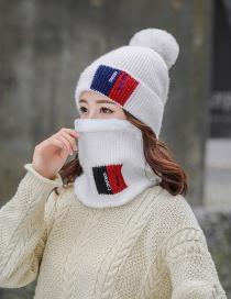 Fashion White Plus Velvet Color Matching Hat Bib Two-piece