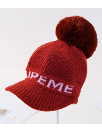 Fashion Wine Red Plush Letter Knit Wool Ball Wool Cap