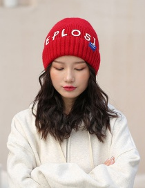 Fashion Red Patch Letter Wool Cap
