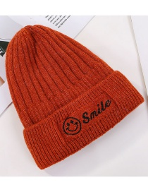 Fashion Red Smiley Embroidery Wool Cap