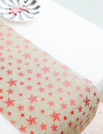 Fashion D Christmas Five-star Christmas Cotton And Linen Printed Table Flag