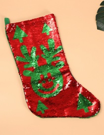 Fashion Sequined Stockings Deer Variable Color Sequins Red And Green Christmas Stockings