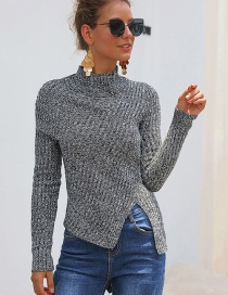 Fashion Gray Vertical Half-high Collar Slit Sweater