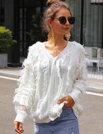 Fashion White V-neck Fringed Lace Stitching Knit Sweater