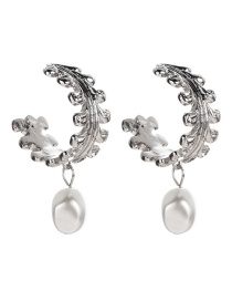 Fashion Silver C-shaped Lace Alloy Imitation Pearl Earrings