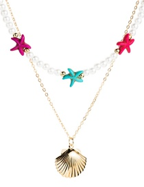 Fashion Color Multilayer Alloy Imitation Pearl Resin Starfish Shell Necklace  Alloy