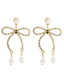 Fashion Gold Acrylic Diamond Bow And Pearl Earrings  Alloy