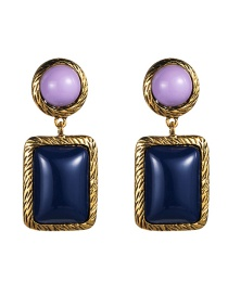 Fashion Purple Blue Multi-layer Round Square Alloy Resin Earrings  Alloy