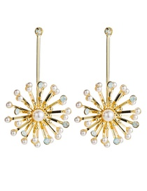 Fashion Gold Alloy Floral Staples With Diamond And Pearl Earrings