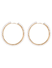 Fashion 9th Gold Big Circle With Pearl Earrings  Alloy