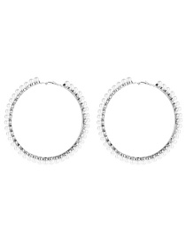 Fashion Silver 9 Big Circle With Pearl Earrings  Alloy