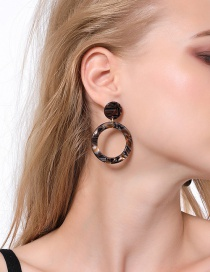 Fashion Brown Acrylic Plate Circle Earrings