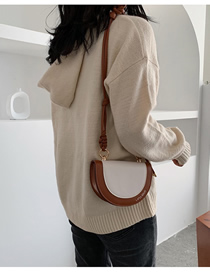 Fashion Brown Bag Color Single Shoulder Diagonal Bag Saddle Bag