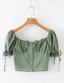 Fashion Green Solid Color Bandage Sleeve Front Buttoned Small Shirt