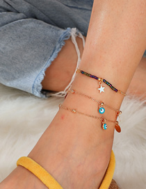 Fashion Gold Mizhu Alloy Disc Eyes Hollow Star Multi-layer Anklet