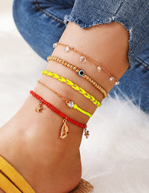 Fashion Gold Wire Rope Woven Diamond Alloy Star Eyes 5 Layer Anklet
