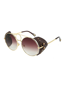 Fashion Gold Frame Double Tea / Brown Skin Round Leather Studded Sunglasses