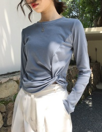Fashion Grey Blue Knotted Bottoming Shirt