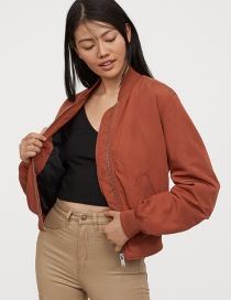 Fashion Caramel Colour Zipper Quilted Jacket