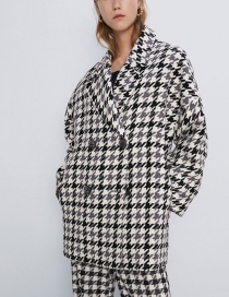 Fashion Lattice Houndstooth Double Breasted Coat