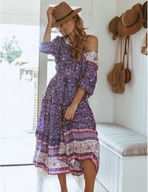 Fashion Purple Floral Print Shoulder Elastic Waist Dress