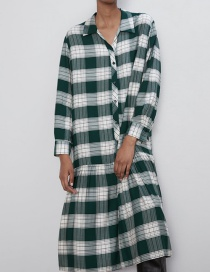 Fashion Green Plaid Print Dress