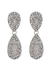 Fashion Silver Alloy Diamond Drop Shape Earrings