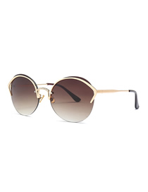 Fashion Gradient Tea Cat Eye Diamond Nose Bridge Round Sunglasses