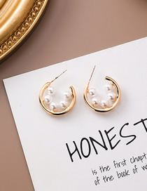 Fashion Gold 925 Silver Needle Pearl Round Earrings