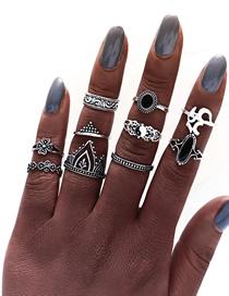 Fashion Silver Crown Yoga Ring 10 Piece Set