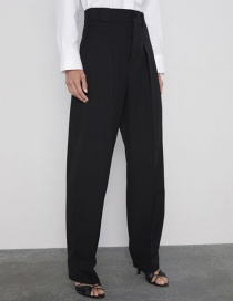 Fashion Black Micro Pleated Pleated Pants