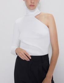 Fashion White Asymmetrical High Neck Sweater