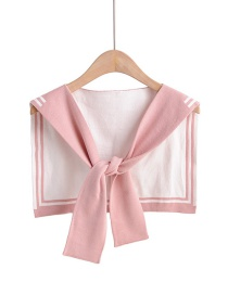 Fashion Pink Fake Collar Knotted Double-knit Shawl