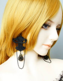 Fashion Black Lace Spider Earrings
