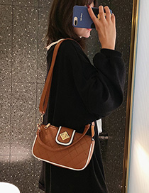 Fashion Brown Grids Pattern Shoulder Bag