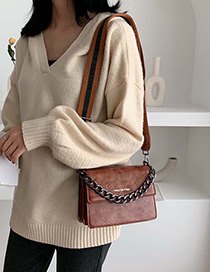 Fashion Brown Wide Shoulder Strap Chain Shoulder Bag Shoulder Bag