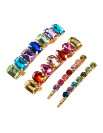 Fashion Color Glass Drill Hair Clip Four-piece