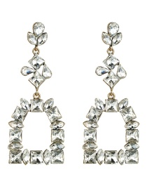 Fashion White Multi-layer Diamond Earrings