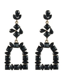 Fashion Black Multi-layer Diamond Earrings