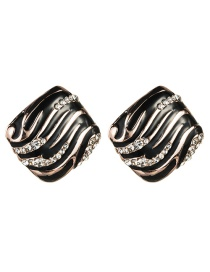 Fashion Black S925 Silver Needle Alloy Square Stripe Drop Oil Stud Earrings