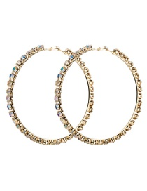 Fashion 8th Gold Large Circle Outer Ring With Diamond Earrings
