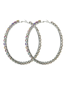 Fashion Silver No. 8 Large Circle Outer Ring With Diamond Earrings