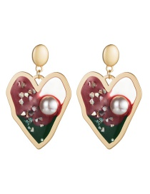 Fashion Red Alloy Love Heart Resin Pearl Earrings