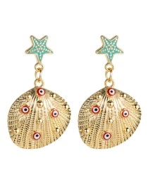 Fashion Red Alloy Drop Oil Starfish Barnacle Multi-eyes Earrings