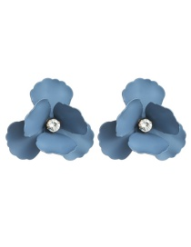Fashion Blue Alloy Spray Paint Flower Flower Earrings