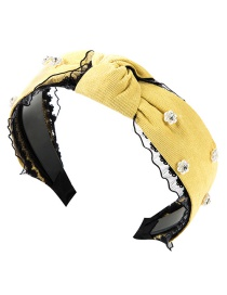 Fashion Yellow Fabric Lace-trimmed Pearl-studded Flower Knotted Headband
