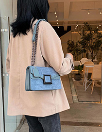Blue Lock Chain Stone Pattern Single Back Messenger Bag