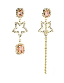 Fashion Pink Acrylic Diamond-studded Five-pointed Star S925 Silver Needle Asymmetric Earrings