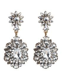 Fashion Silver Multi-layer Acrylic Diamond Flower Earrings